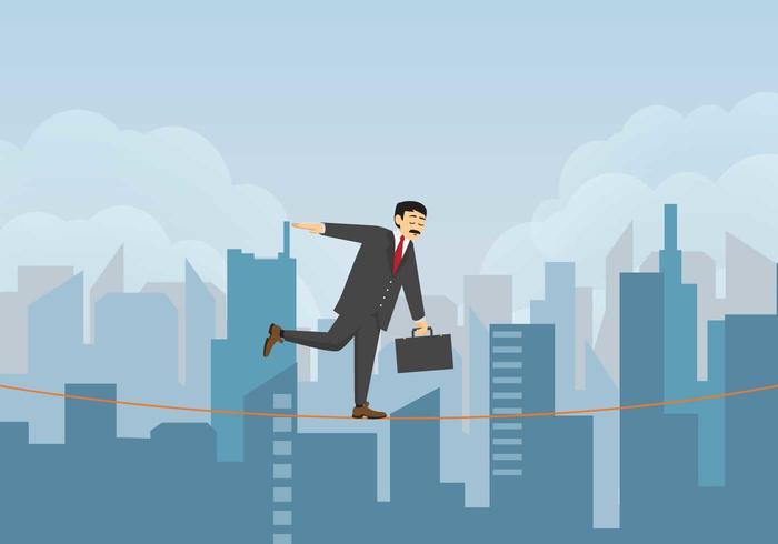 Free Businessman Walking Auf Tightrope Illustration