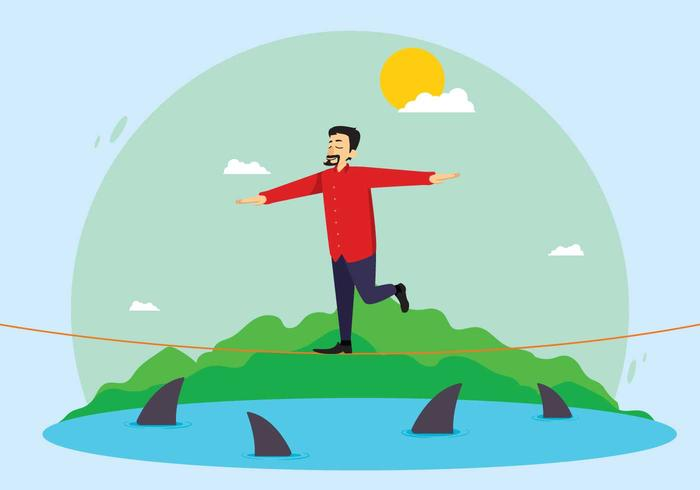 Free Man Walking On Tightrope Over Sea Illustration
