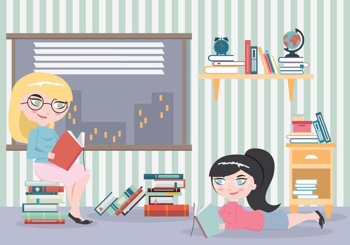 Bookworm Girls with Many Books Vector