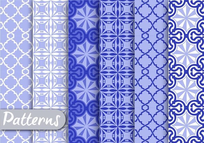 Blauwe Ornamet Patroon Set
