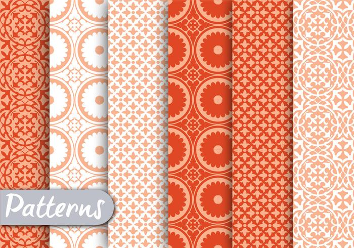 Orange Ornamet Pattern Set