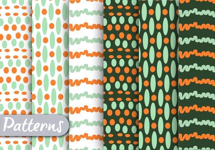 Grünes und orange Muster Set