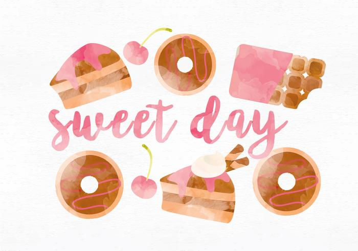 Vector Watercolor Sweets Illustration