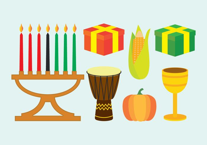 Kwanzaa icons set
