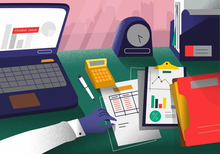 Bookkeeping Office Desk Vector Illustration