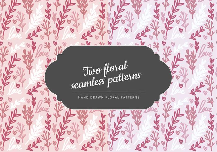 Vector Hand Drawn Floral Seamless Patterns