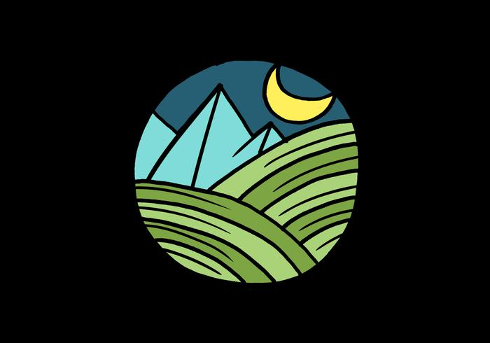 Natt utomhus cirkel emblem