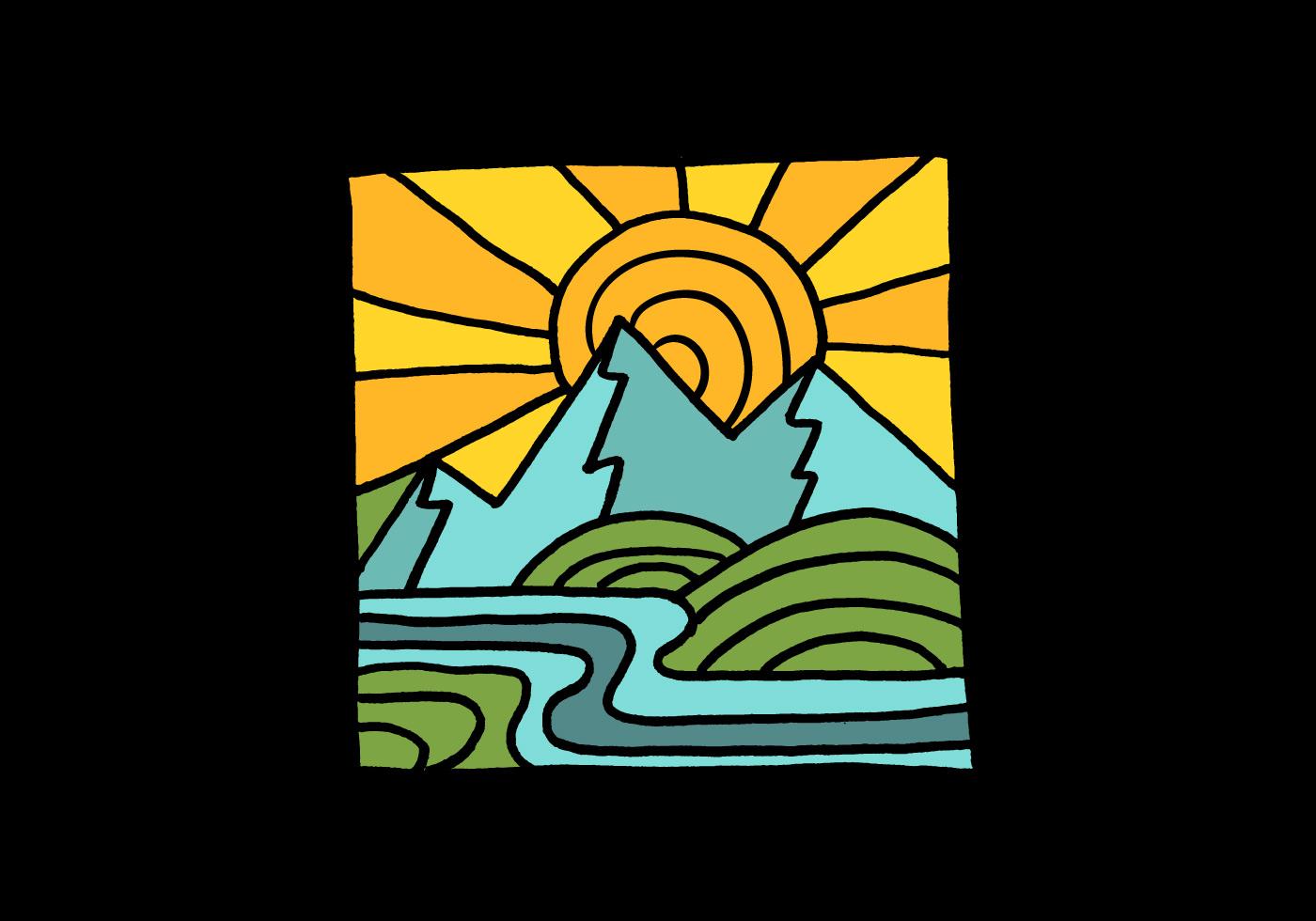 Minimal landscape badge download free vector art stock for Minimal art vector