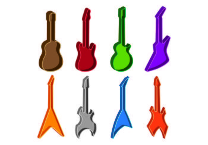 Set von Gitarrenkoffer Icons