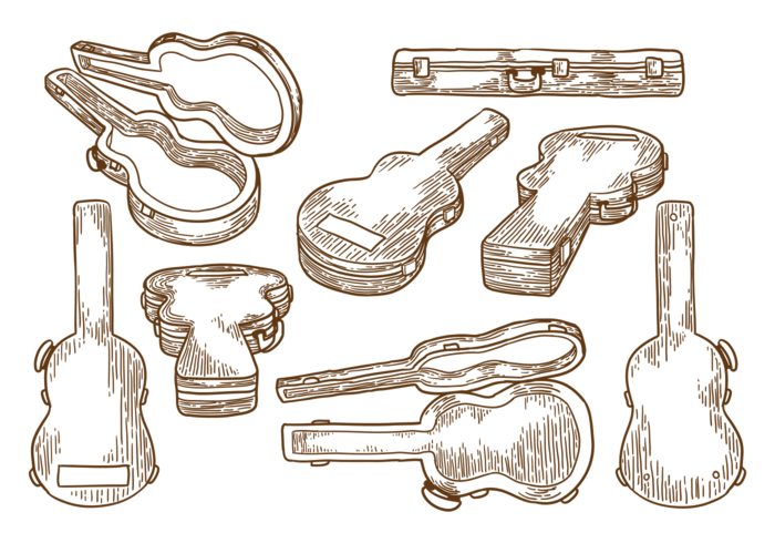 Hand Drawn Guitar Case  vector