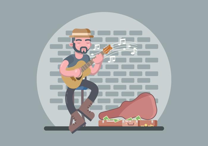 Street Musician Playing Guitar Illustration