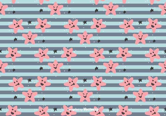 Smiling Stars Vector Pattern