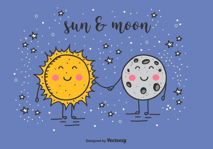 Sol och mån vektor bakgrund