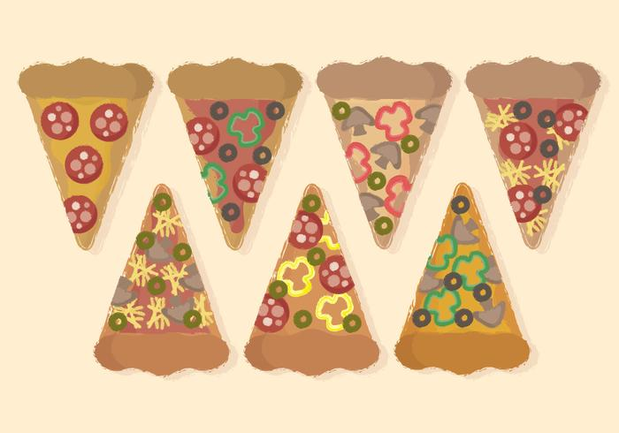Vector Hand Drawn Slices of Pizza
