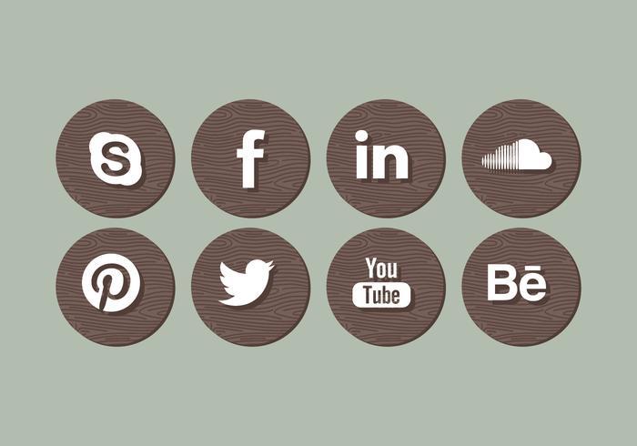 Vector Wood Social Media Icons