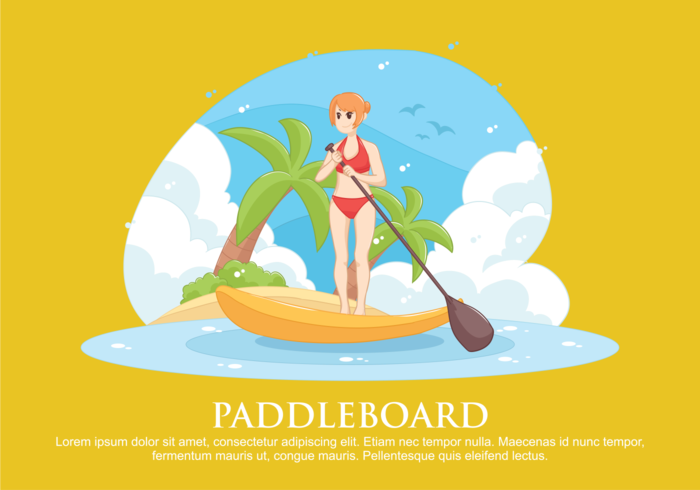 Illustrazione vettoriale di paddleboard
