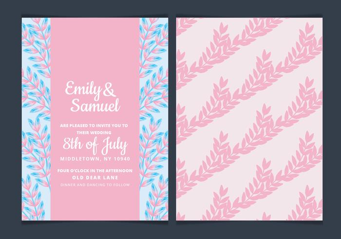 Vector Floral Pink Wedding Invitation