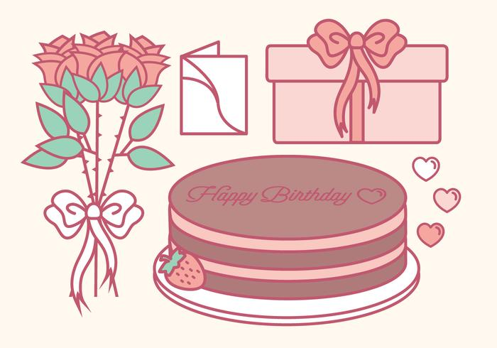 Vector Outline Birthday Elements