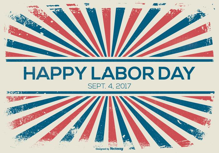 Labor Day Retro Sunburst Style Background