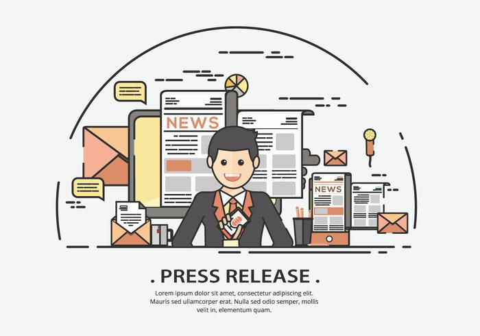Presenter On Press Release Vector Illustration