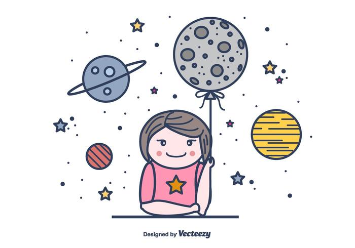 Girl And Moon Vector Background