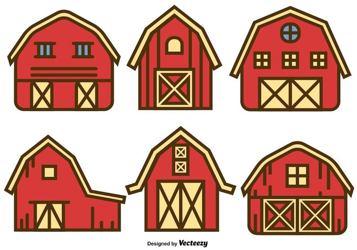 Vector Set Of Red Barn House Icons