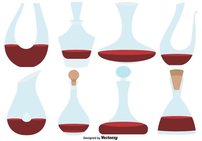 Vector Set Of Flat Decanter Color Icons