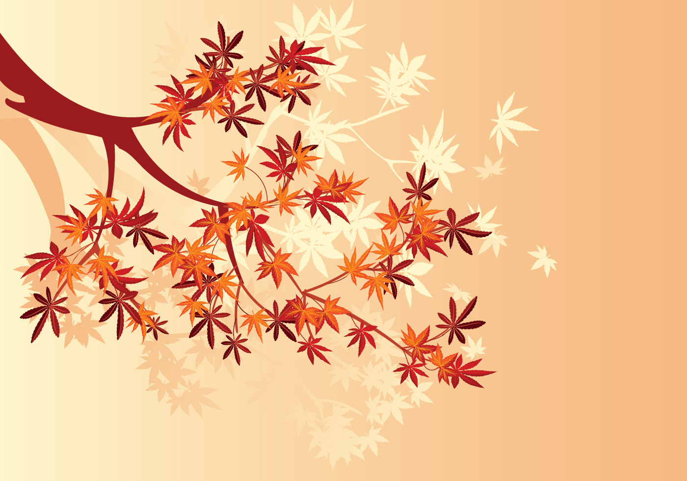 Smooth Japanese Maple Plant And Fall Maple Leaves Background