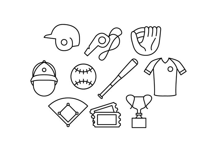 Free Baseball Line Icon Vector