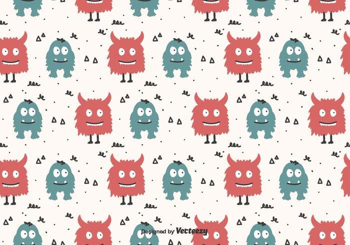 Cartoon Monsters Vector Pattern