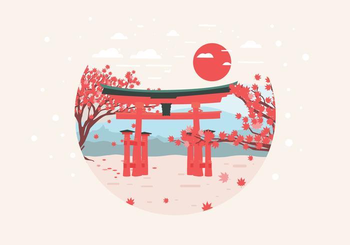 Japonés, arce, jardín, vector