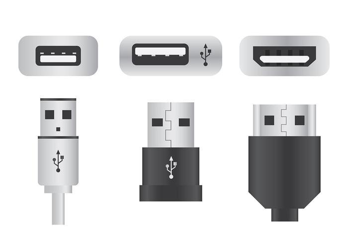 USB Port Vector Icons