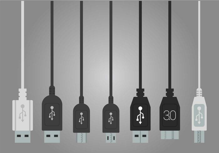 USB port vektor set