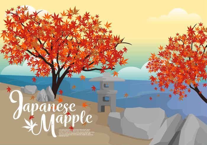 Japanese Maple in River Side Vector Illustration