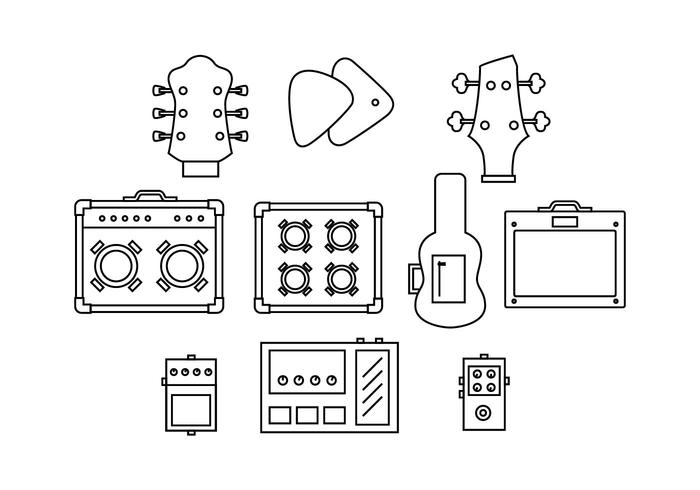 Free Guitar Equipment Line Icon Vector
