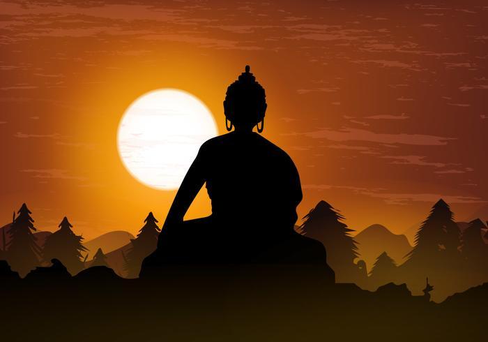 Sitter thailändsk Buddha i siluetten