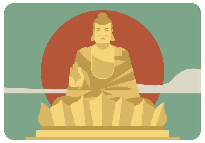 Golden Buddha Front View Vector