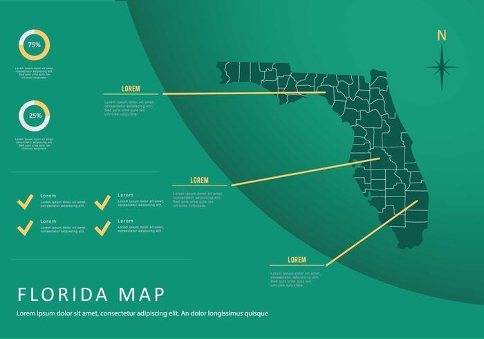 Gratis Florida karta med grön bakgrund