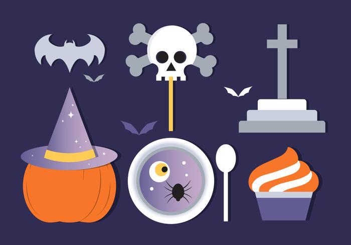 Gratis Flat Design Vector Halloween Element och Ikoner