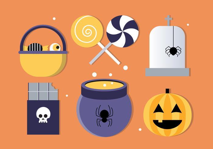 Ilustração grátis dos elementos de Halloween do vetor de design plano