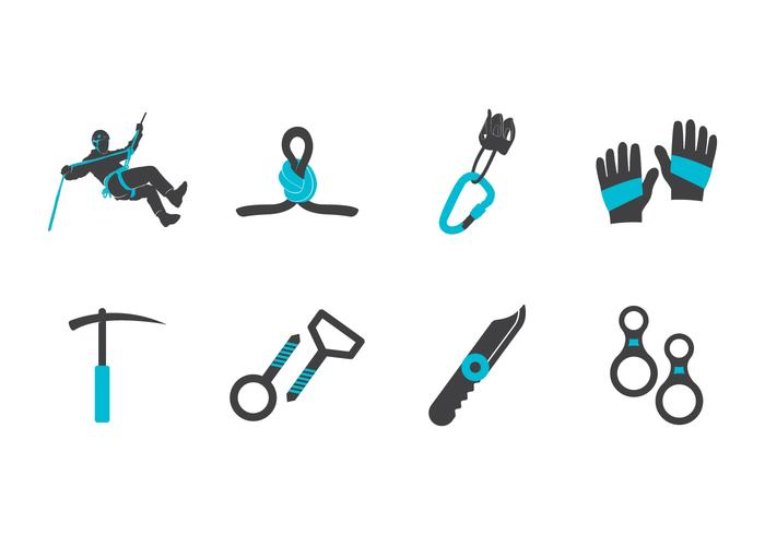 Free Mountain Climber and Rappel Vector Icons