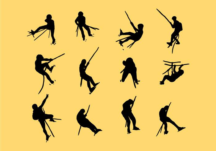 Silhouette Image Of Wall Climbing Vectors