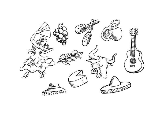 Gratis Spanien Sketch Ikon Vector