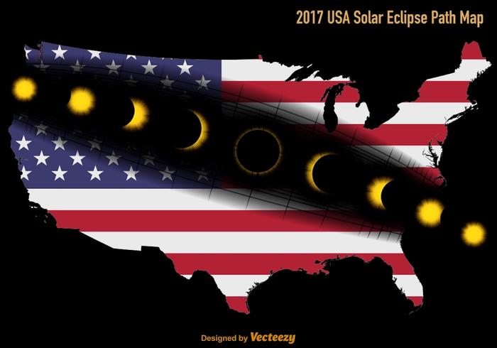 Vector US Solar Eclipse Path Map