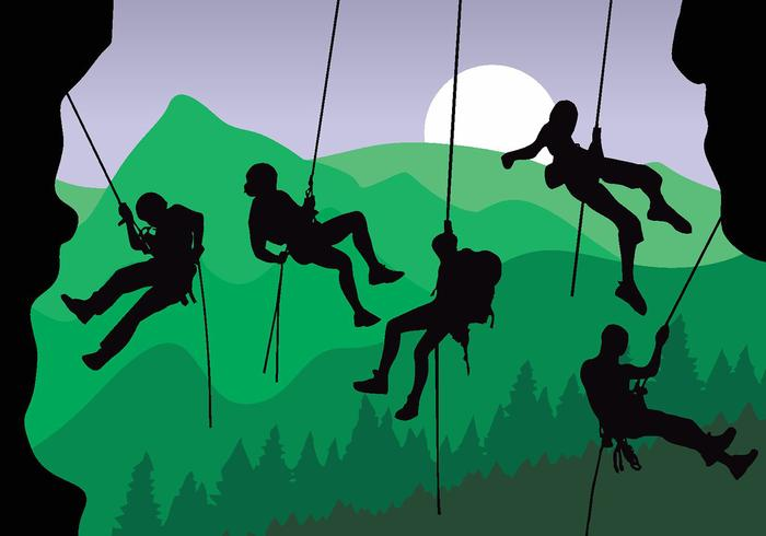 Rappelling Silhouette Vector Pack