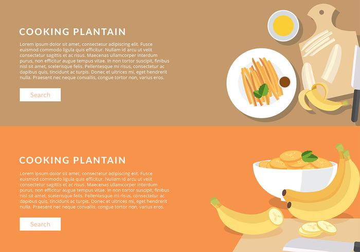 Cooking Plantain Banner Free Vector