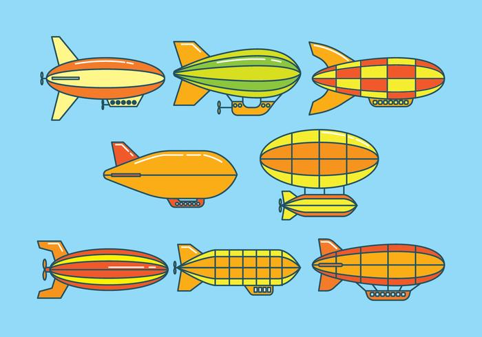 Dirigible Icons Set vector