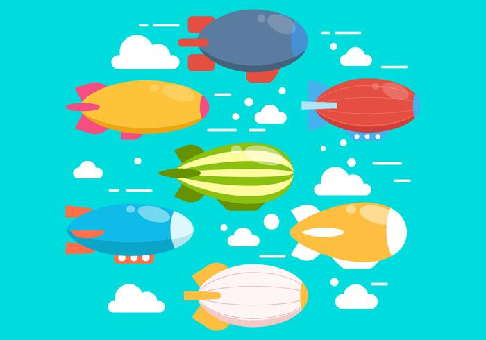 Set Of Cute Dirigible Vectors