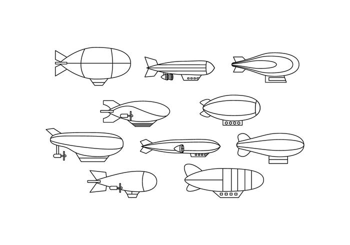 Gratis Dirigible Collection Line Ikon Vector