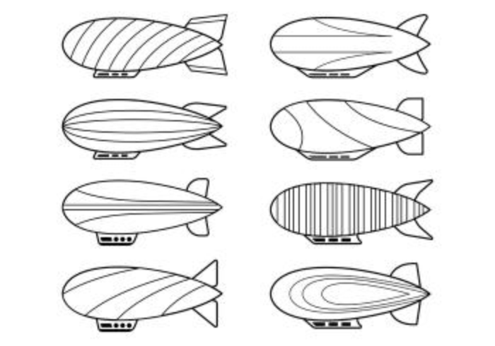 Set Of Dirigible Icons
